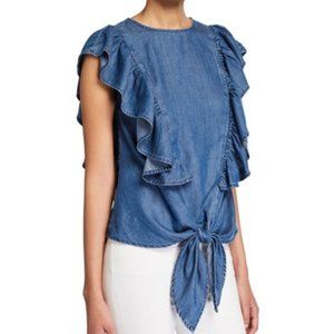 FRAME Chambray Knotted Flutter-Sleeve Blouse